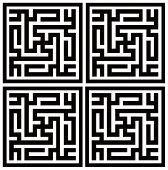 Kufic arabic script repeating four times names Ali and Muhammad. There is swastika in center of each