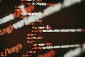 Programmer Developer Screen, Web App Coding. Script On Computer. Modern Display Of Data Source Code. poster