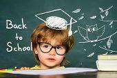 Cute Little Preschool Kid Boy In A Classroom. Blackboard Background. Teachers Day. Kids From Primary poster