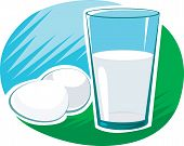 stock photo of milk glass  - Illustration of milk in glass and eggs - JPG