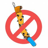Prohibition Sign To Use Sticky Tape For Flies. Vector Illustration Icon Of Adhesive Ribbon Trap With poster
