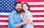 National Glory. Bearded Man And Little Child On National Flag Of The Usa. American Family Celebratin poster