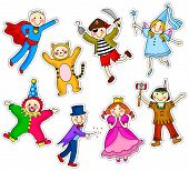 image of purim  - collection of cute kids wearing different costumes - JPG