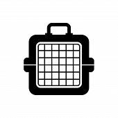 Black Pet Carry Case Icon Isolated. Carrier For Animals, Dog And Cat. Container For Animals. Animal  poster