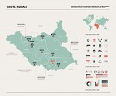 Vector Map Of South Sudan. Country Map With Division, Cities And Capital Juba. Political Map,  World poster