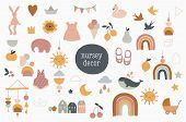 Baby, Children, Little Kids Elements In Simple, Clean Modern Style. Perfect For Nursery Decor, Fashi poster