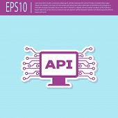 Retro Purple Computer Api Interface Icon Isolated On Turquoise Background. Application Programming I poster