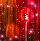stock photo of curtain  - Classic Microphone with Colorful Curtains - JPG