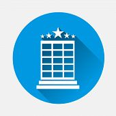 Vector Hotel Image. Image Icon Of A Five-star Hotel On Blue Background. Flat Image Hotel Business Wi poster