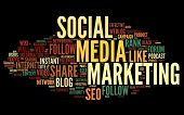 picture of  media  - Social media marketing concept in word tag cloud on black background - JPG
