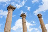 picture of cardo  - Corinthium column in antique town Jerash Jordan - JPG