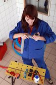 picture of gizmo  - repair girl preparing her tools - JPG