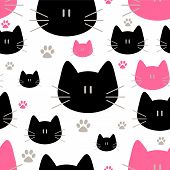 Cute Cats Seamless Pattern, Sweet Kitty, Texture For Wallpapers, Fabric, Wrap, Web Page Backgrounds, poster