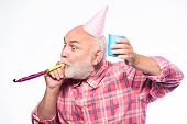 Getting Older Is Still Fun. Elderly People. Man Bearded Grandpa With Birthday Cap And Drink Cup. Bir poster