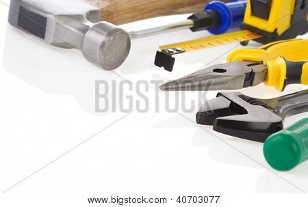 kit of construction tools and instruments isolated on white background
