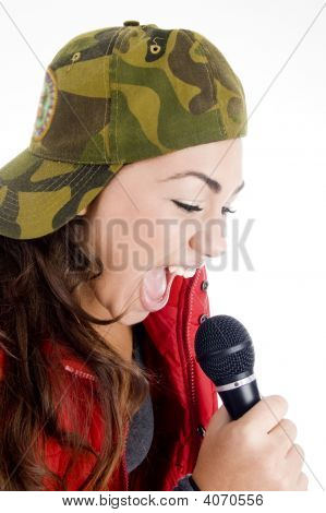 Teenager Singer With Microphone