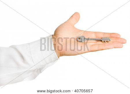 Businessman hand, holding key isolated