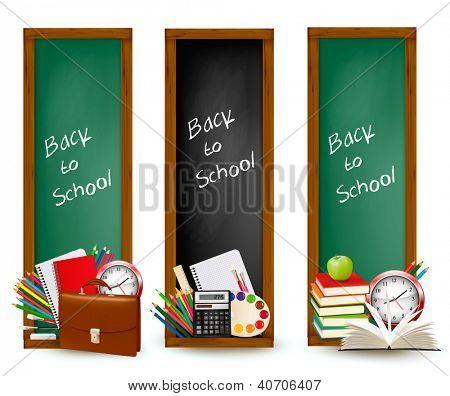 Zurück zur Schule. Drei Banner mit Schulmaterial. Vektor.