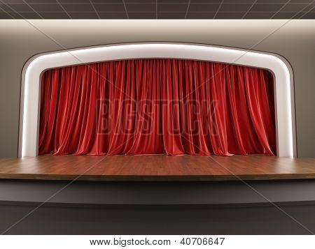 A 3d illustration blank template layout of empty stage with red velvet curtain.