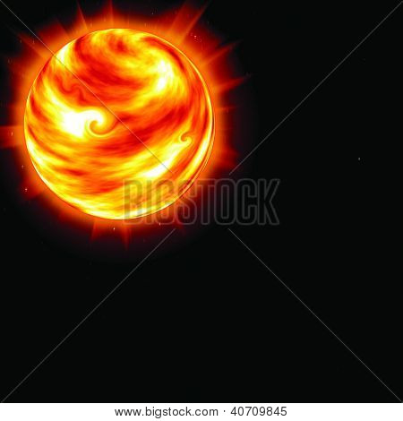 sun in the sky on a black background