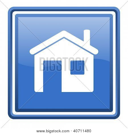 home blue glossy square web icon isolated