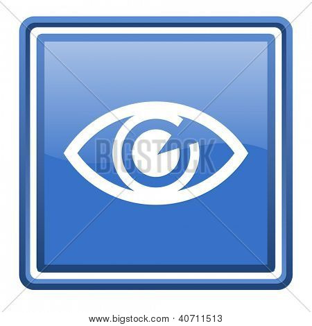 eye blue glossy square web icon isolated