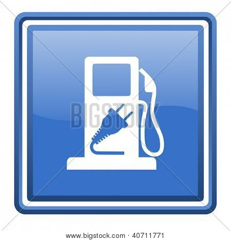 fuel blue glossy square web icon isolated