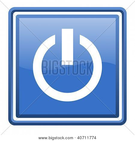 power blue glossy square web icon isolated