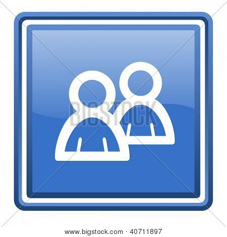 forum blue glossy square web icon isolated