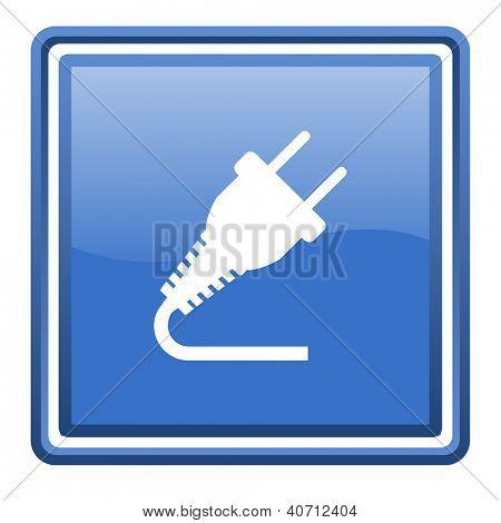 plug blue glossy square web icon isolated