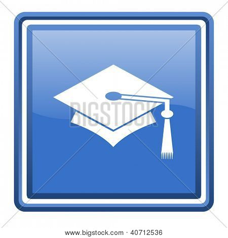graduation blue glossy square web icon isolated