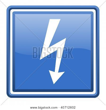 lightning blue glossy square web icon isolated