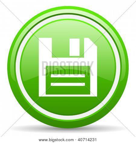 grüne glänzende Web Kreissymbol auf weißem Hintergrund mit Schatten