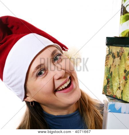 Smiling Girl In  Cap With Three Boxes