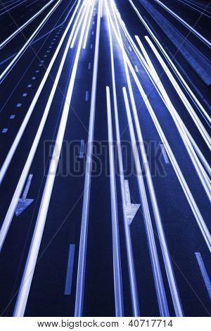 Abstract Real Traffic Road Background / High traffic road with automobile light trails