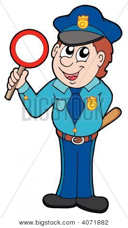 Cute Policeman With Stop Sign