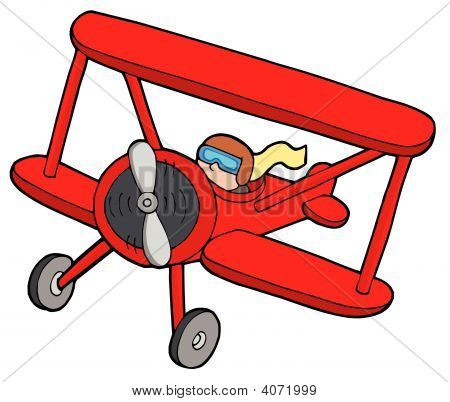Flying Red Biplane