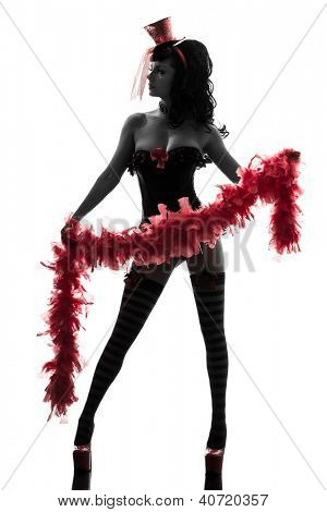 one sexy  caucasian woman stripper showgirl   in silhouette studio isolated on white background