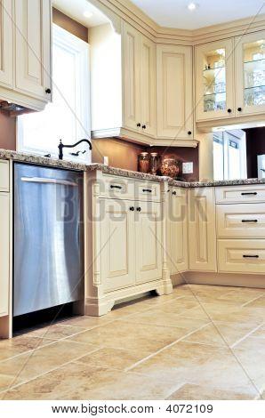 Modern Kitchen With Tile Floor