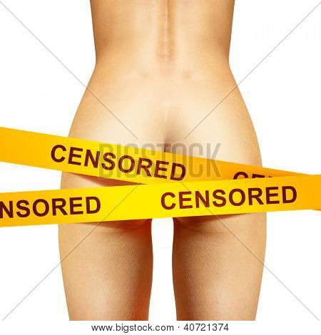 beautiful back of woman under censorship tapes