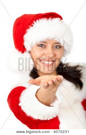 Christmas Girl Offering A Helping Hand
