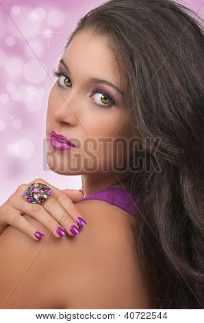 Young woman with beautiful, make up, hair and manicure