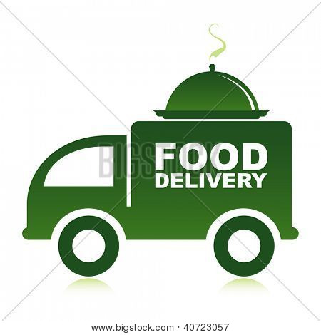 Food delivery van with platter.