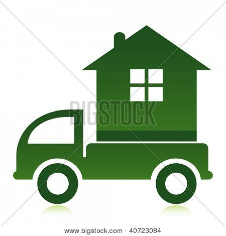 Moving home concept. A truck transporting a house.