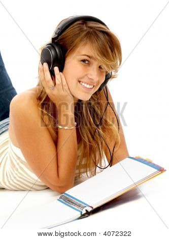 Student Smiling While Studying