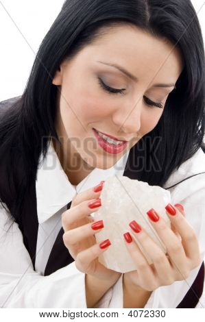 Woman Holding A Rock