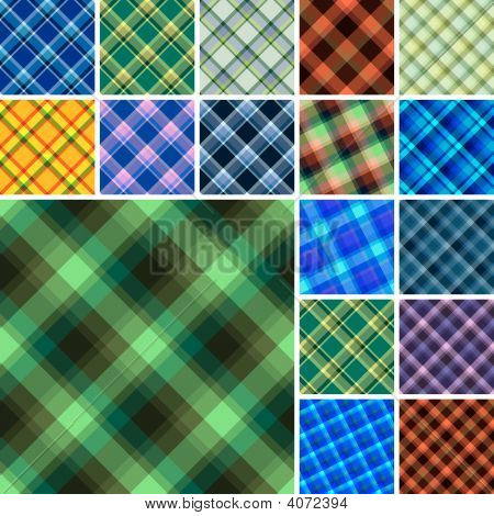 Lot Of Seamless Plaid Patterns