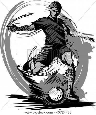 Soccer Kick Sketch Vector Illustration