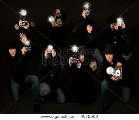 Retro Style Paparazzi Photojournalists