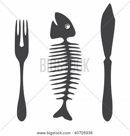 Cutlery knife fork fish  - illustration